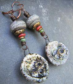 Lampwork Earrings Artisan Orange Green Bronze by ChrysalisToo