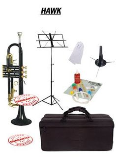 Hawk Black Bb Trumpet School Package with Case Music Stand Trumpet Stand and Cleaning Kit WD-T314-BK-PACK -- You can find more details by visiting the image link.