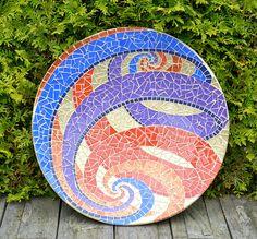 Escher spirals on glass mosaic dish by mimosaico on Etsy