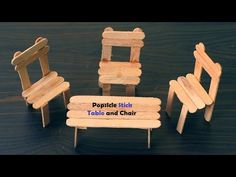 How to Make Table and Chair using the Popsicle Stick DIY Chair Made Out Of Popsicle Sticks – Dollhouse Miniatures … Popsicle Stick Crafts House, Popsicle Sticks, Craft Stick Crafts, Crafts For Kids, Plate Crafts, Resin Crafts, Yarn Crafts, Diy Barbie Furniture, Dollhouse Furniture
