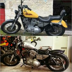 Before / after Harley Davidson Sportster Mad Max Harley Davidson Sportster, Mad Max, Old School, Motorcycle, Motorcycles, Motorbikes, Choppers