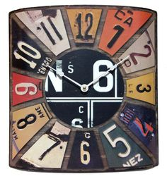 The Peddler license plate clock by Infinity Instruments. #clock #decor #vintage
