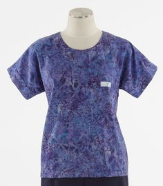 Scrub Med Womens Scrub Top in Violet Fields - $30