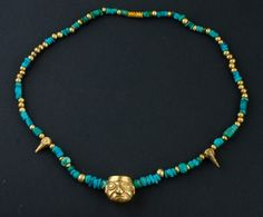 Peru | Necklace composed of Turquoise and gold beads | Mochica period; 300 BC - 500 AD | 1440€ ~ Sold