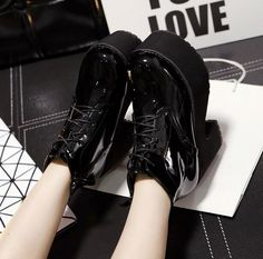 Chic Women Platform Lace Up High Block Heels Ridding Ankle Boots Punk Shoes in Clothing, Shoes & Accessories, Women's Shoes, Boots Combat Boots, Ankle Boots, Punk Shoes, Lolita Cosplay, Chunky High Heels, All Black Sneakers, Knight, Platform, Lace Up