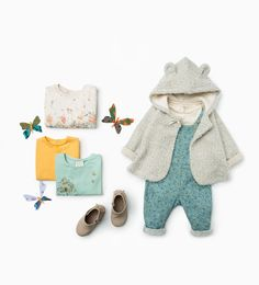 Zara Little Girls Floral Dungarees, Shiny Floral Shirt & Knit Jacket