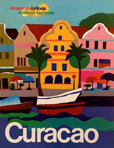 American Airlines Curacao1971 - old vintage USA travel poster repro