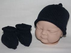 Supersoft Merino Cashmere baby beanie hat and booties in Henley Navy - £22.99