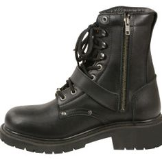 de2f8b9e471 Men s motorbike real leather buckled   lace to toe boot with side zipper
