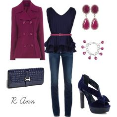 """""""!"""" by rachelann34 on Polyvore: These Colors together are Incredible, the Navy top with the Fuchsia Belt brings all the Colors & Accessories Together!"""