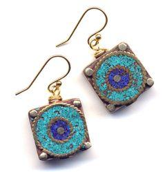 Nepal Lapis Lazuli Turquoise Earrings  Nepal Beads on by Annaart72.......