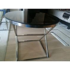 $425 Image of Smoked Bronze Glass and Steel Side Table