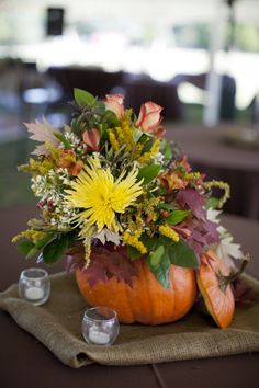 Pumpkins for decorations, maybe even pumpkin centerpieces as long as it's with fall flowers