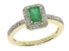 10K 1.0ct Diamond Emerald Ring