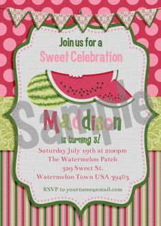 Watermelon themed party invitation, such pretty colors, perfect for any summer celebration.