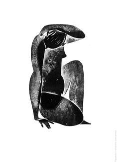 Prints on Behance Linocut Prints, Art Prints, Block Prints, Illustration Art, Illustrations, Black Girl Art, Grafik Design, White Art, Watercolor Print