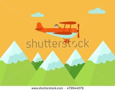 Airplane flying over mountains vector illustration.