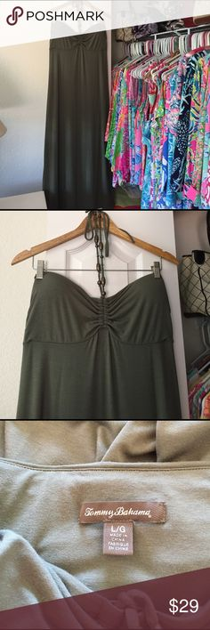 Tommy Bahama Sundress A lovely olive green strapless Sundress with built in cups. There are ties with beads for around your neck. Size L and long. Very cute for the summer. Very comfortable. ❤ Tommy Bahama Dresses Maxi