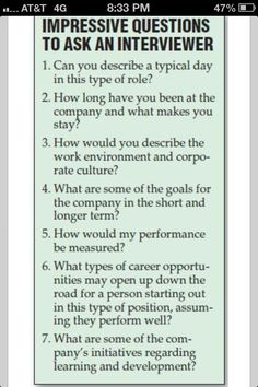 Impressive Questions To Ask An Interviewer. - Imgur