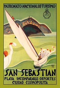 San Sebastian, Spain - Vintage Travel Poster Quality Poster Prints Printed in the USA on heavy stock paper Crisp vibrant color image that is resistant to fading Standard size print, ready for framing Perfect for your home, office, or a gift Travel And Tourism, Spain Travel, Travel Tips, San Sebastian Spain, Madrid, Borders For Paper, Basque Country, Vintage Travel Posters, Vintage Airline