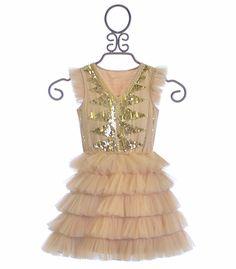 Tutu Du Monde Ruffle Dress for Girls in Nude