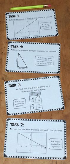 Slope Task Cards. Students work independently or together to find slopes given: graphs, right triangles, tables of data, equations, and coordinate pairs (8.F.A.2). On each of the 10 task cards is an additional question, which asks students to find the equations of the lines represented in the data (8.F.B.4). You may choose to have your students work only to find slope or also to find these equations.