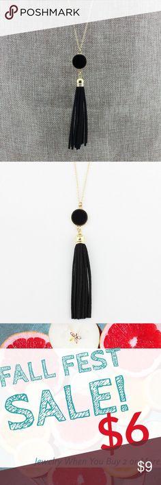 🔥Black & Gold Velvet Tassel Necklace 🌺Beautiful long laying tassel necklace.😍 Jewelry Necklaces