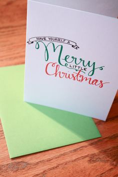Have Yourself a Merry Little Christmas Hand Lettering card. $2.50, via Etsy.
