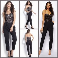 DEtail:EQ 199 Black Strapless Lace Jumpsuit (size M,L)Excellent QualityFabric Lace Polyester, Not ElasticSize M.L in cmBust (80,82) Waist (68,70) Hips (86,88) Length (110,112)Back Zipper   Elastic Backwith Bust Pad