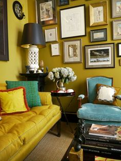 yellow sofa home wall gallery art decor eclectic ideas blue chair green walls chartreuse colors My Living Room, Home And Living, Mustard Walls, Mustard Yellow, Mustard Sofa, Yellow Sofa, Sofa Home, Blue Walls, Yellow Walls Living Room