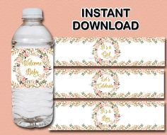 Floral baby shower Water Bottle Labels, Printable Peach, pink, gold water bottle wrap - Boho Baby shower Decor, INSTANT DOWNLOAD 029 by LetsPartyShoppe on Etsy https://www.etsy.com/listing/531450725/floral-baby-shower-water-bottle-labels