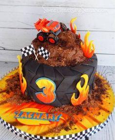 Summer Cookie Catch-Up (cake too) Blaze Birthday Cake Monster Truck Birthday Torta Blaze, Bolo Blaze, Blaze Cakes, Festa Monster Truck, Monster Truck Birthday Cake, Monster Trucks, Hotwheels Birthday Cake, Monster Truck Cakes, Blaze Birthday Cake