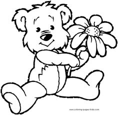 bear with a flower bear color bears animal coloring pages color plate - Pictures Of Coloring Sheets