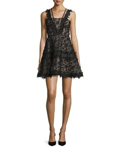 TCAQX Alexis Mindy Sleeveless Embroidered Lace A-Line Dress, Black