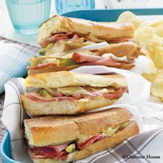 Gooseberry Patch Recipes: Grilled Cuban Sandwiches. Great combination of flavors on crusty French bread.