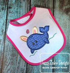 Easter Dolphin wearing bunny ears applique embroidery Design - Easter appliqué design - dolphin appliqué design - bunny appliqué design - rabbit appliqué design - girl appliqué design - baby appliqué design