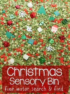 Play a search and find game with this Christmas themed sensory bin for kids to practice fine motor skills