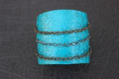Turquoise Mixed Metal Chained Polymer Clay Cuff Bracelet ~ Vegan Handmade ~ Rocker and Edgy on Etsy, $43.00 CAD
