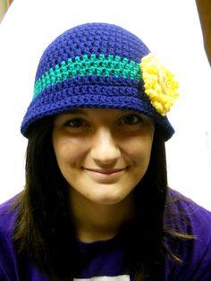 bc9cda56a0f Notre Dame Football Ladies Crochet Cloche Bucket Hat by CDBSTUDIO