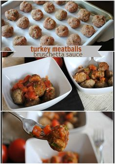 Healthy meatballs with ground turkey and seasonings combined with a homemade bruschetta sauce. This recipe is a keeper! Healthy Cooking, Healthy Eating, Cooking Recipes, Healthy Recipes, Healthy Meals, Healthy Meatballs, Turkey Meatballs, Buffalo Meatballs, Bon Appetit