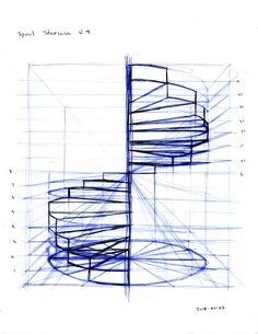Güzel sanatlar mekan dönen merdiven çizimi karakalem.
