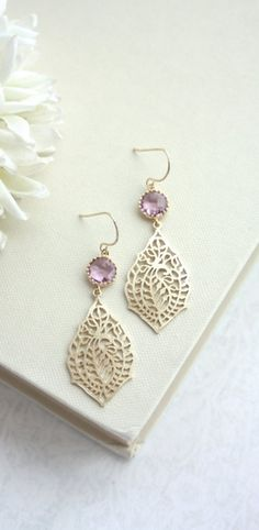 Paisley Peacock Filigree, Light Lavender Pink, Sweet Pink Gold Glass Drop Dangle Earrings.