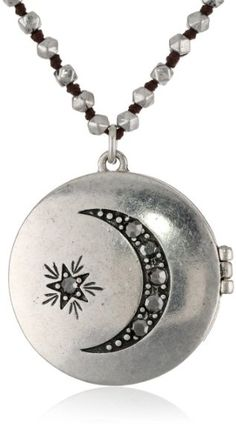 """Women's #Fashion #Jewelry: Lucky Brand #Silver #Moon and #Star #Locket #Necklace, 28.5"""": #Pendants and #Necklaces"""