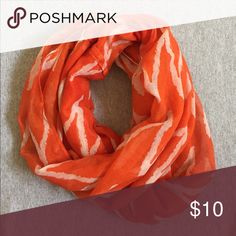 Orange & White Infinity Scarf Orange & White Infinity Scarf •One Size •Lightweight Linen •Zig-Zag Pattern  •Like New Francesca's Collections Accessories Scarves & Wraps