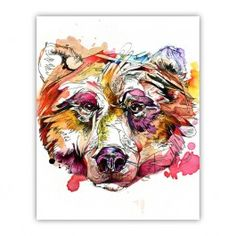 Vivid Grizzly Wood Print $30.00