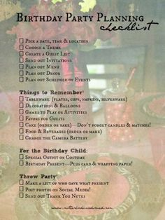 Wonderful Birthday Party/Event Checklist that I used for my Sleeping Beauty…