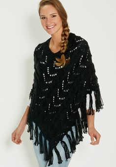 cable knit poncho wi