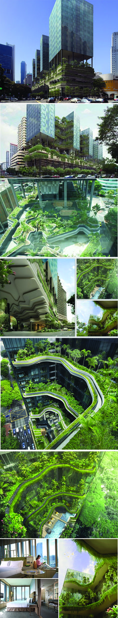 Parkroyal located in central Singapore 2013, by Woha Architect. Designed as a hotel and office in a garden, the project at Upper Pickering Street is a study of how we can not only conserve our greenery in a built-up high-rise city centre but multiply it in a manner that is architecturally striking, integrated and sustainable - found on archidose.blogspot.com