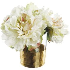 Paper Whites Peonies in Honeycomb Glass found on Polyvore featuring home, home decor, floral decor, white floral arrangement, artificial floral arrangement, artificial flowers and faux floral arrangement