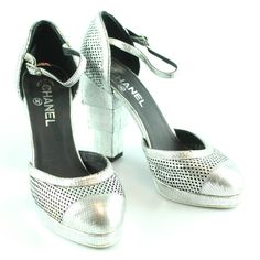 Chanel Silver Block Heel Shoes EUR 38.5 UK 5.5 Silver Block Heel Shoes, Chanel Heels, Uk 5, Bags, Fashion, Handbags, Moda, Fashion Styles, Taschen